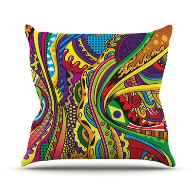 Doodle by Roberlan Rainbow Abstract Throw Pillow Size: 26