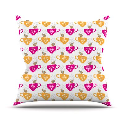 Tea-Birds by Apple Kaur Designs Throw Pillow Size: 18 H x 18 W x 3 D
