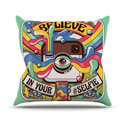Selfie by Roberlan Camera Throw Pillow Size: 26 H x 26 W x 5 D