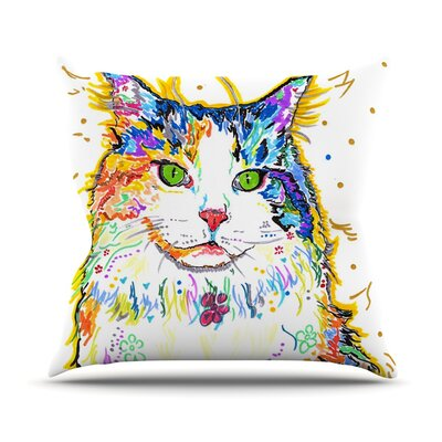 Royal by Rebecca Fischer Rainbow Cat Throw Pillow Size: 18 H x 18 W x 3 D
