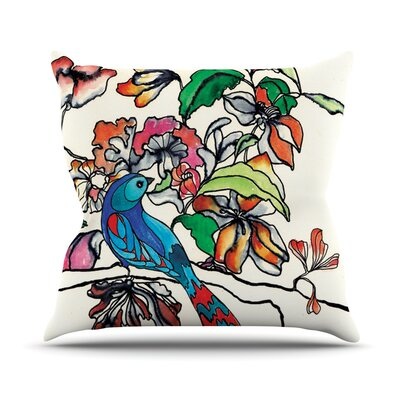 Magic Garden by Sonal Nathwani Rainbow Bird Throw Pillow Size: 26 H x 26 W x 5 D