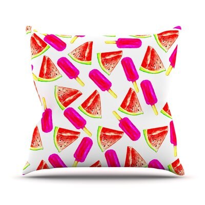 Strawberry and Watermelon by Sreetama Ray Throw Pillow Size: 16 H x 16 W x 3 D