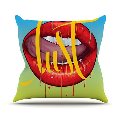 Lust by Roberlan Kiss Lips Throw Pillow Size: 20 H x 20 W x 4 D