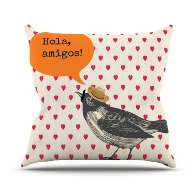 Hola by Sreetama Ray Spanish Throw Pillow Size: 20 H x 20 W x 4 D