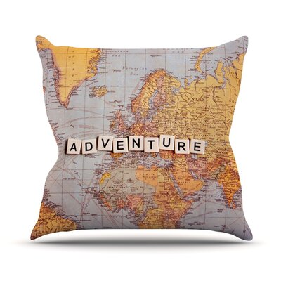 Adventure Map by Sylvia Cook World Throw Pillow Size: 26 H x 26 W x 5 D