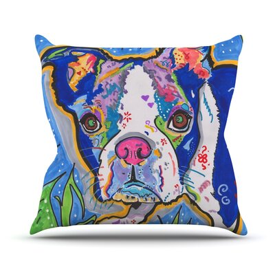 Addy Mae by Rebecca Fischer Pug Terrier Throw Pillow Size: 26 H x 26 W x 5 D