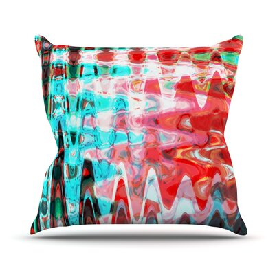 Aqua Wave by Suzanne Carter Abstract Throw Pillow Size: 26 H x 26 W x 5 D