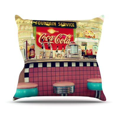 Retro Diner by Sylvia Cook Coca Cola Throw Pillow Size: 16 H x 16 W x 3 D