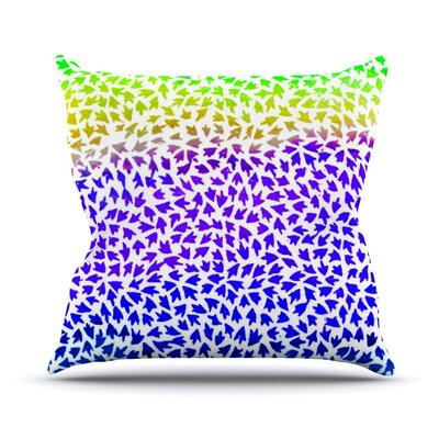 Aqua Arrows by Sreetama Ray Throw Pillow Size: 18 H x 18 W x 3 D