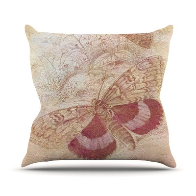 Vintage Garden by Suzanne Carter Butterfly Moth Throw Pillow Size: 26 H x 26 W x 5 D