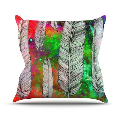 Feather by Suzanne Carter Rainbow Space Throw Pillow Size: 26 H x 26 W x 5 D