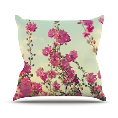 Lavatera by Sylvia Cook Flowers Sky Throw Pillow Size: 16
