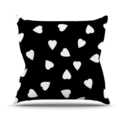 Hearts by Suzanne Carter Throw Pillow Size: 16 H x 16 W x 3 D, Color: Black
