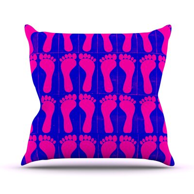 Footprints by Sreetama Ray Throw Pillow Size: 18 H x 18 W x 3 D, Color: Purple