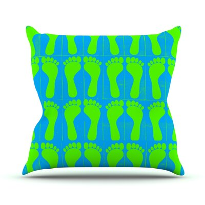 Footprints by Sreetama Ray Throw Pillow Size: 16 H x 16 W x 3 D, Color: Green