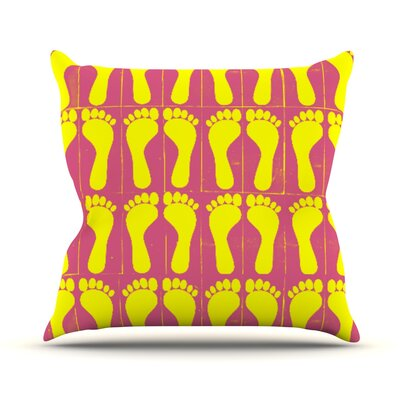Footprints by Sreetama Ray Throw Pillow Size: 18 H x 18 W x 3 D, Color: Yellow