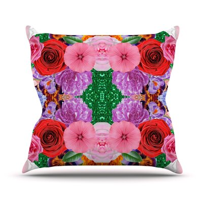 Kaleidoscopic Flowers by Vasare Nar Throw Pillow Size: 20 H x 20 W x 4 D
