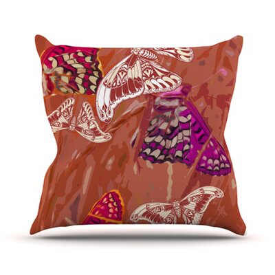 Butterflies Party Throw Pillow Size: 18 H x 18 W, Color: Orange