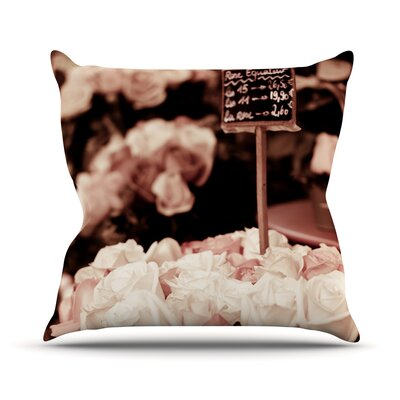 Paris Flower Market Roses Throw Pillow Size: 18 H x 18 W x 1 D