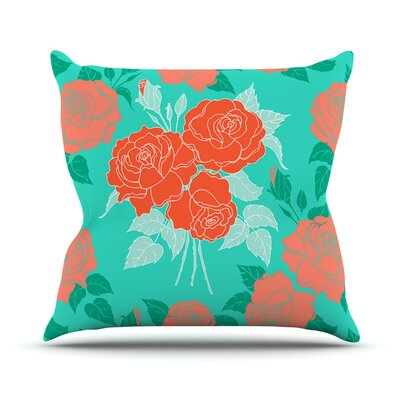 Summer Rose by Anneline Sophia Throw Pillow Size: 18 H x 18 W x 1 D, Color: Orange/Teal