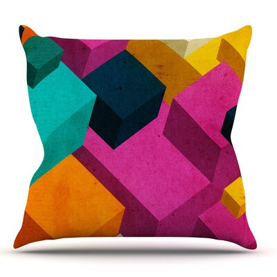 Happy Cubes by Danny Ivan Throw Pillow Size: 18 H x 18 W x 1 D