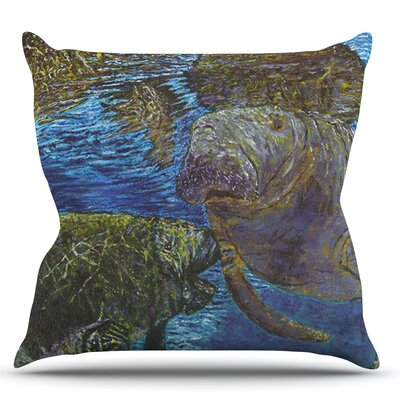 Manatees by David Joyner Throw Pillow Size: 18 H x 18 W x 1 D