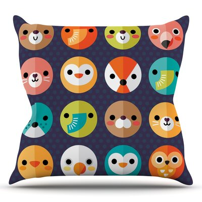 Smiley Faces by Daisy Beatrice Animals Throw Pillow Size: 16'' H x 16'' W x 1