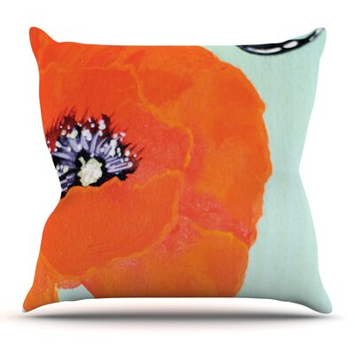 Vintage Poppy by Christen Treat Flower Throw Pillow Size: 18'' H x 18'' W x 1