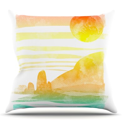 Landscape Painted With Tea by Frederic Levy-Hadida Coastal Throw Pillow Size: 16 H x 16 W x 1 D