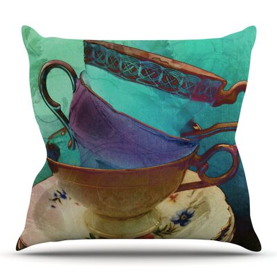 Mad Hatters T-Party I by alyZen Moonshadow Turquoise Throw Pillow Size: 18 H x 18 W x 1 D