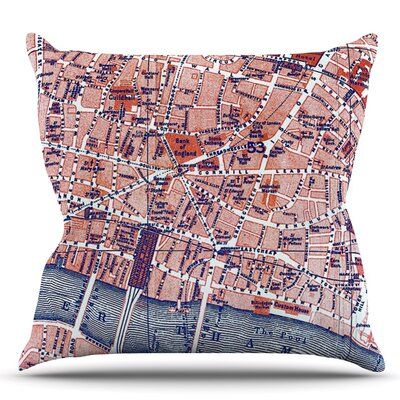 City Of London by Alison Coxon Map Throw Pillow Size: 16 H x 16 W x 1 D