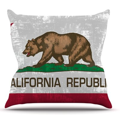 California Flag by Bruce Stanfield Throw Pillow Size: 26 H x 26 W x 1 D