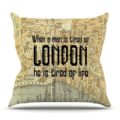 London Type by Alison Coxon Map Throw Pillow Size: 18 H x 18 W x 1 D