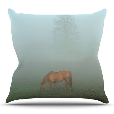 Horse in Fog by Angie Turner Throw Pillow Size: 16 H x 16 W x 1 D