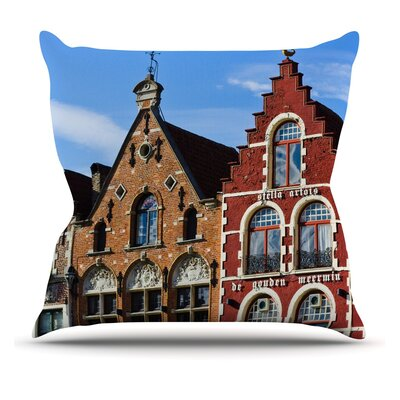 Inbruges by Ann Barnes City Street Throw Pillow Size: 16 H x 16 W x 1 D