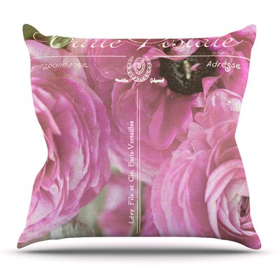 Paris Postcard by Ann Barnes Flowers Throw Pillow Size: 20 H x 20 W x 1 D