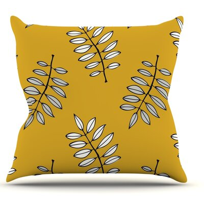 Pagoda Leaf Gold by Laurie Baars Leaves Throw Pillow Size: 18 H x 18 W x 3 D
