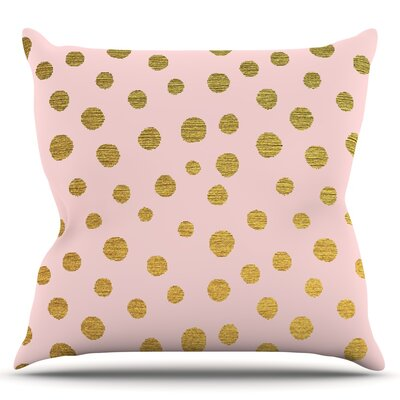 Golden Dots by Nika Martinez Blush Throw Pillow Size: 18 H x 18 W x 3 D
