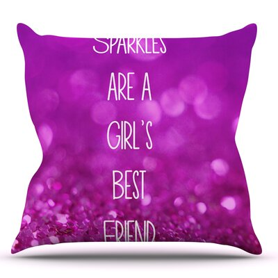 Sparkles are a Girls Best Friend by Beth Engel Glitter Throw Pillow Size: 20 H x 20 W x 1 D