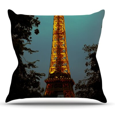 Tour Eiffel by Ann Barnes Throw Pillow Size: 18 H x 18 W x 1 D