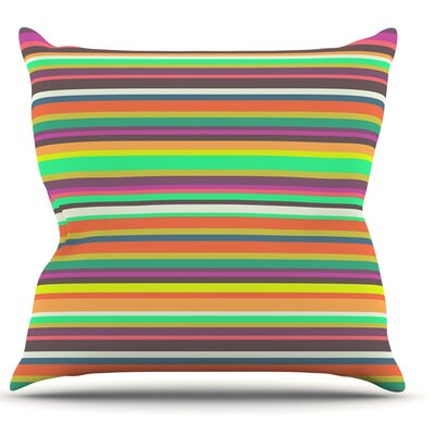Play Stripes by Nandita Singh Rainbow Throw Pillow Size: 16 H x 16 W x 3 D