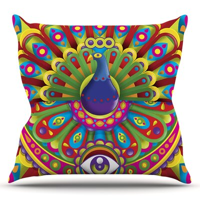 Peacolor by Roberlan Rainbow Peacock Throw Pillow Size: 26