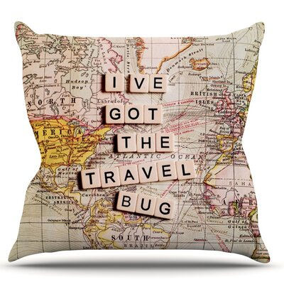 Travel Bug by Sylvia Cook Map Throw Pillow Size: 20 H x 20 W x 4 D