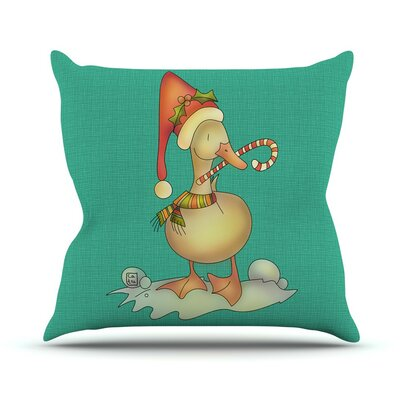 Xmas Duck by Carina Povarchik Throw Pillow Size: 26 H x 26 W x 5 D