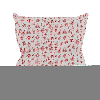 Miniature Christmas by Snap Studio Throw Pillow Size: 26 H x 26 W x 5 D, Color: Red/Gray