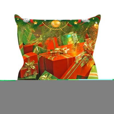 Wrapped in Cheer by Snap Studio Presents Throw Pillow Size: 18 H x 18 W x 3 D