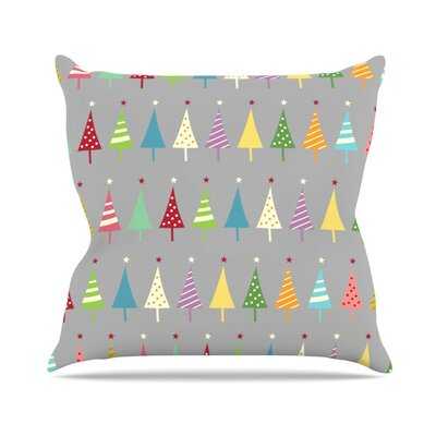 Crazy Trees by Snap Studio Rainbow Throw Pillow Size: 16 H x 16 W x 3 D