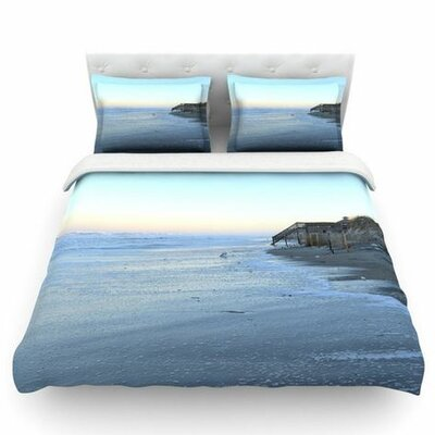Sand Surf Sunshine by Robin Dickinson Woven Duvet Cover Size: Queen