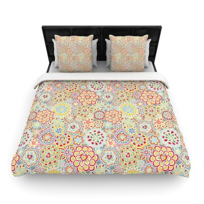 My Happy Flowers Woven Comforter Duvet Cover Size: King