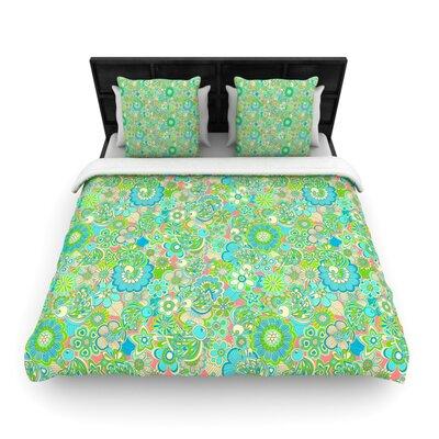 "Image of ""Welcome Birds To My Garden"" Woven Comforter Duvet Cover Size: Full/Queen"